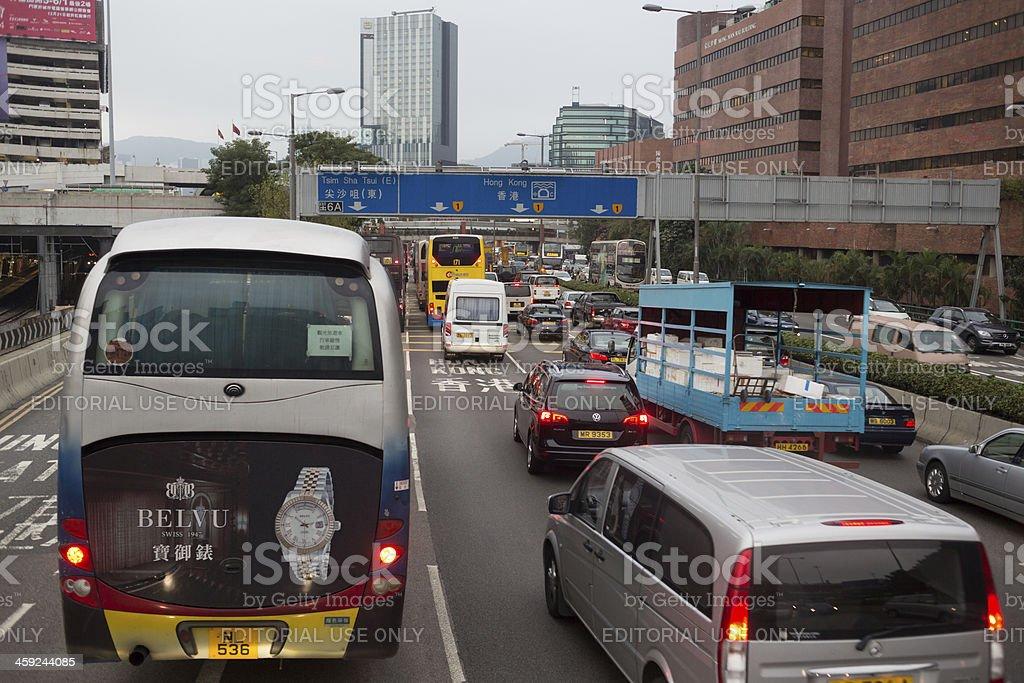 Traffic Jam in Hong Kong royalty-free stock photo