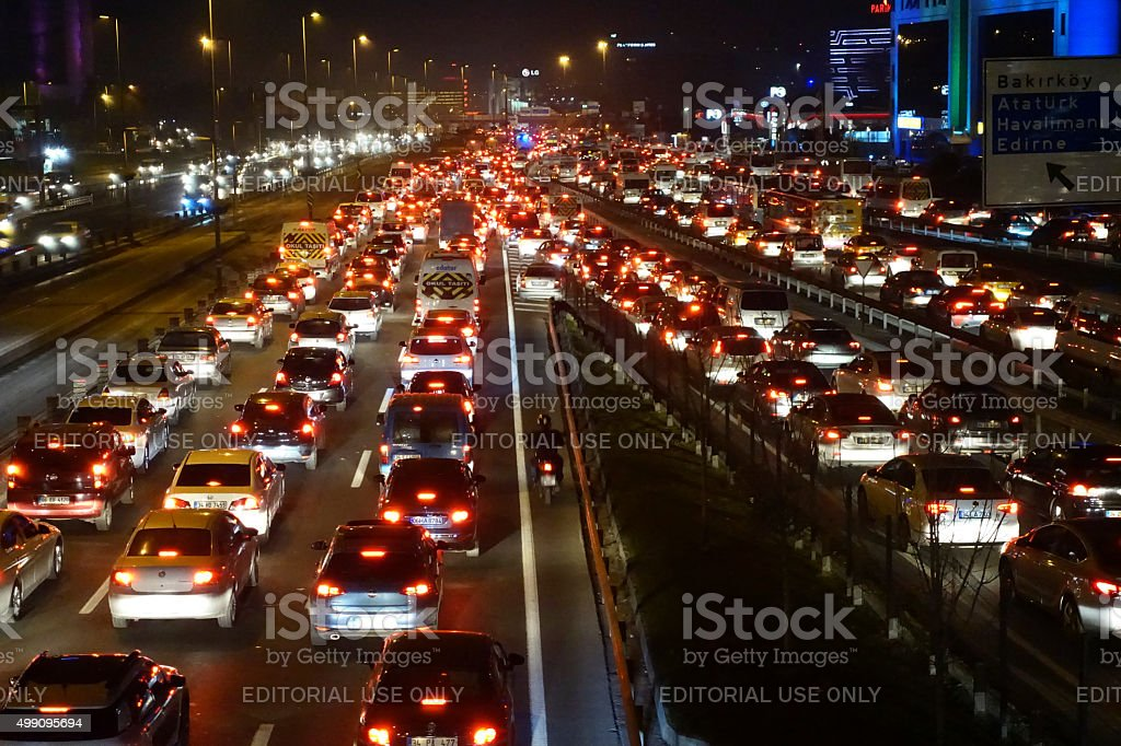 Traffic Jam in istanbul stock photo
