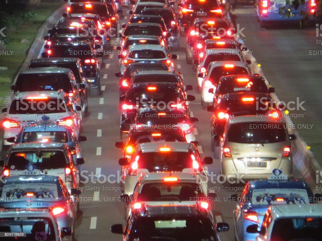 Traffic jam in Jakarta stock photo