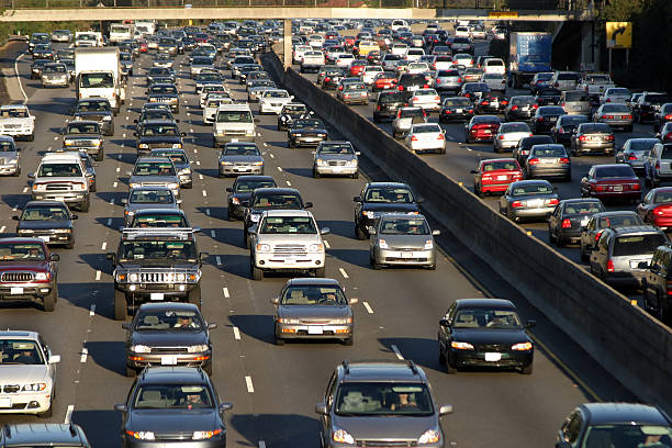 Traffic jam in Los Angeles Traffic jam in Los Angeles multiple lane highway stock pictures, royalty-free photos & images