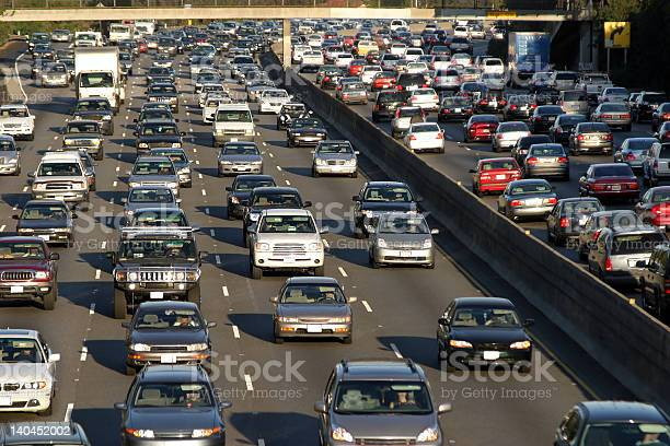 Traffic Jam In Los Angeles Stock Photo - Download Image Now