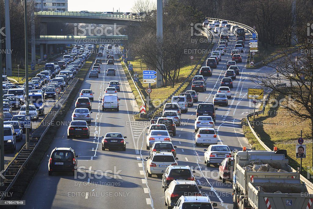 Traffic jam in Munich, Germany royalty-free stock photo