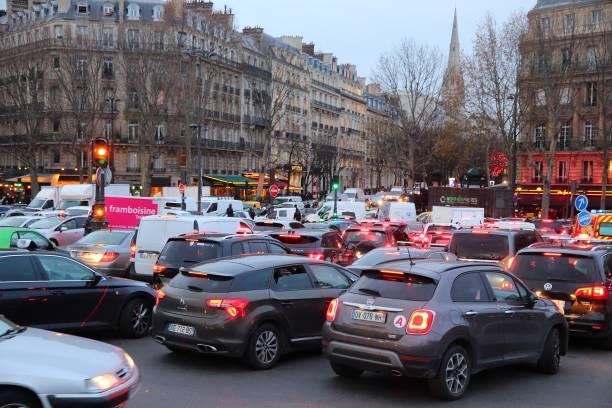 Traffic jam in Paris stock photo