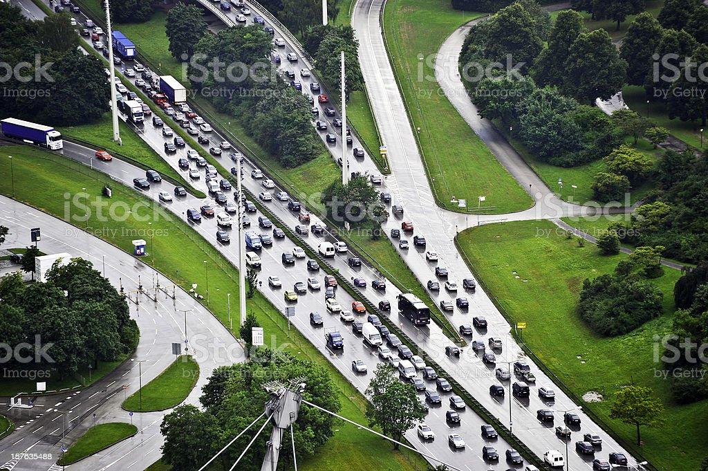 traffic jam in rain royalty-free stock photo