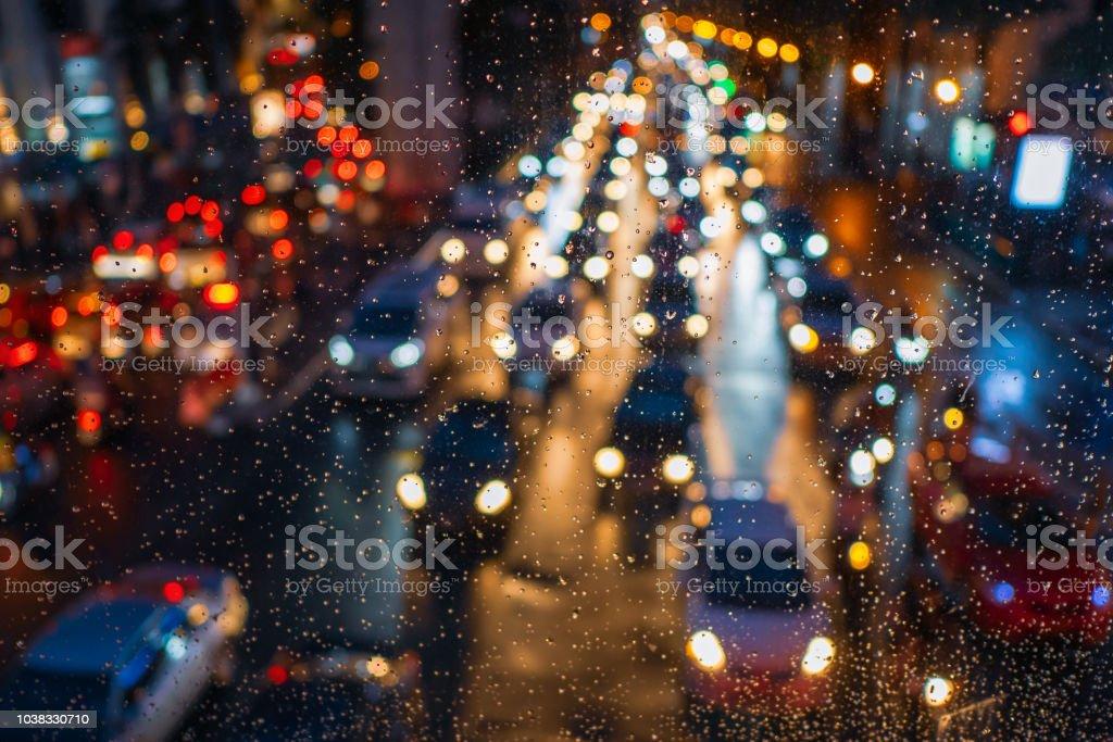 Traffic jam in rainy day stock photo