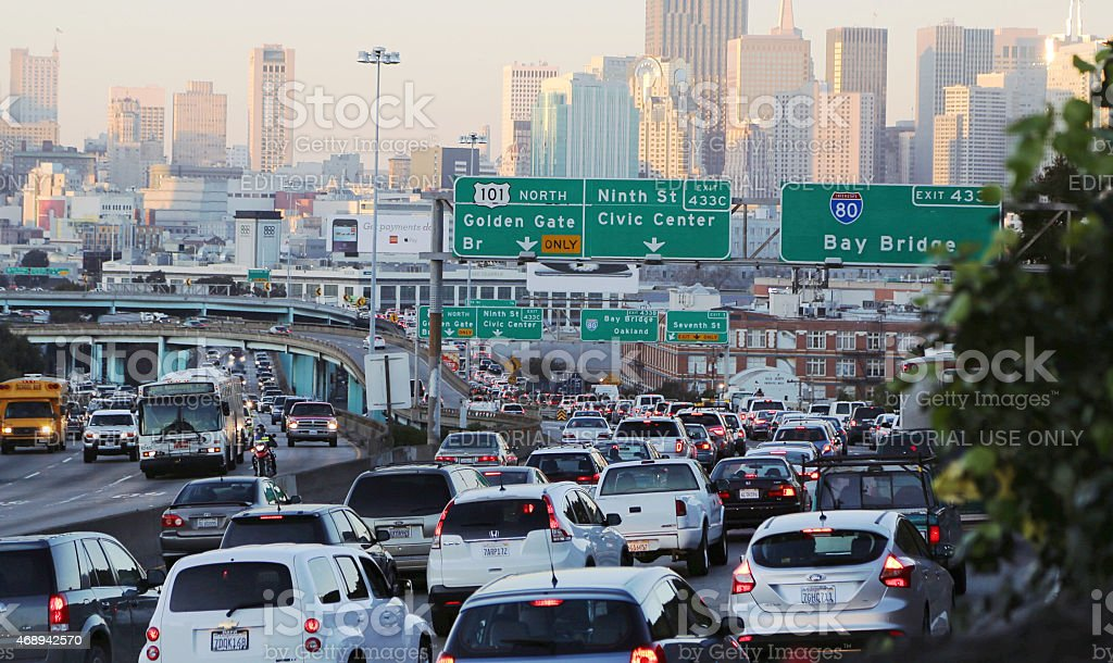 Traffic Jam in San Francisco, California stock photo