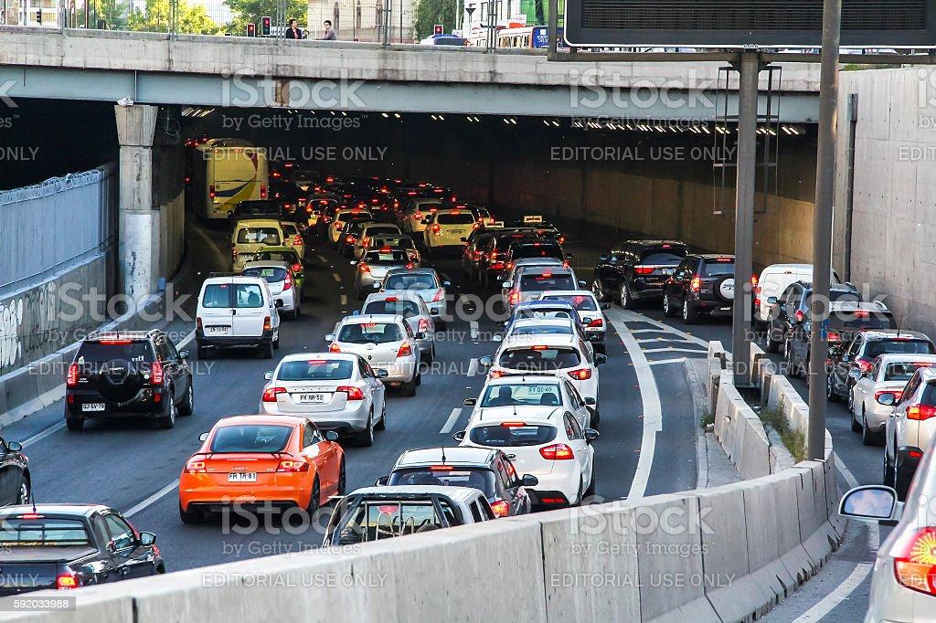 Traffic jam in Santiago stock photo