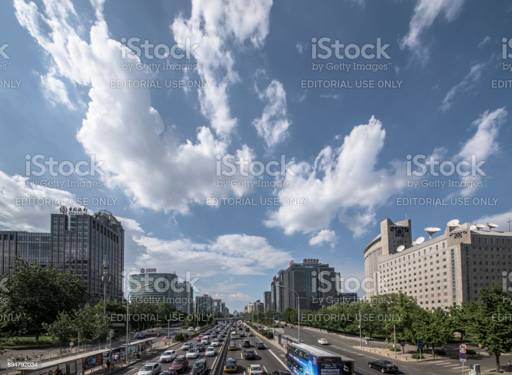 Traffic jam in second ring road which is the main urban expressway, Beijing stock photo