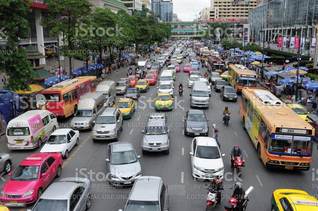 Traffic jam in Thailand stock photo