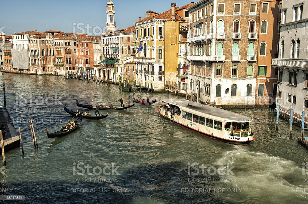 Traffic jam in the Grand Canal stock photo