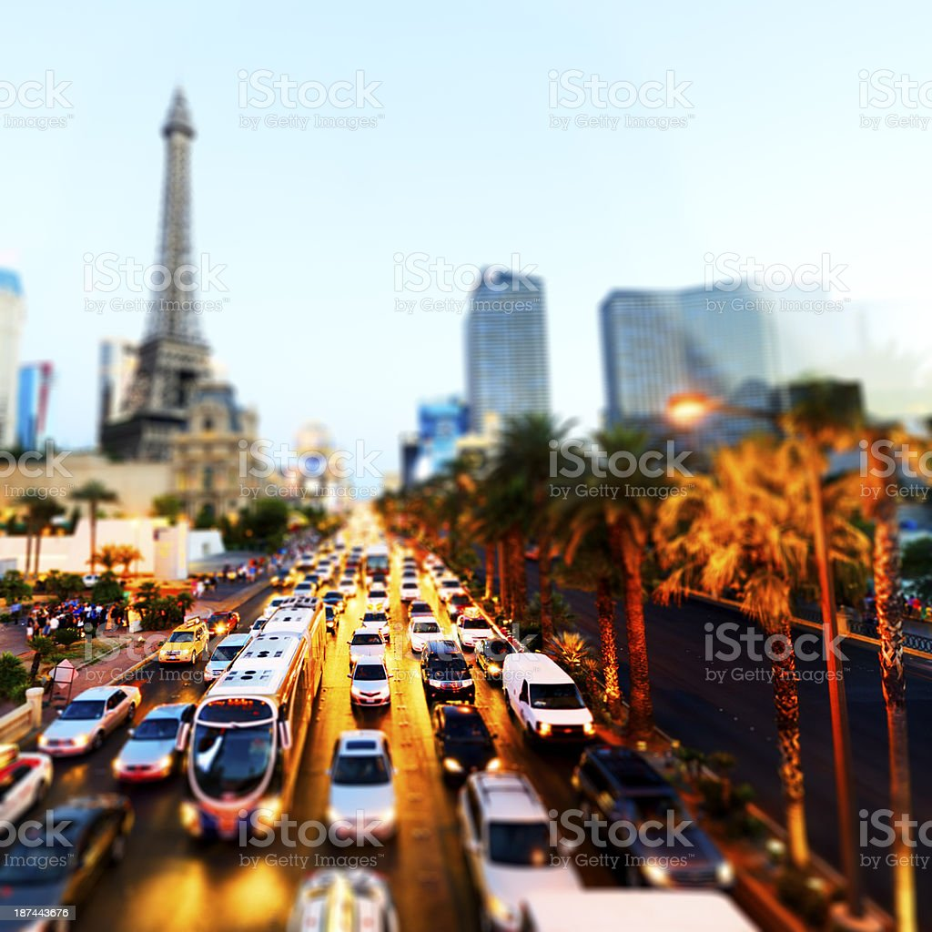 Traffic Jam, Las Vegas. Aerial View stock photo