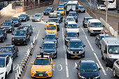 Traffic Jam in E 59th St and over the Queensboro Bridge, Midtown Manhattan, New York City.