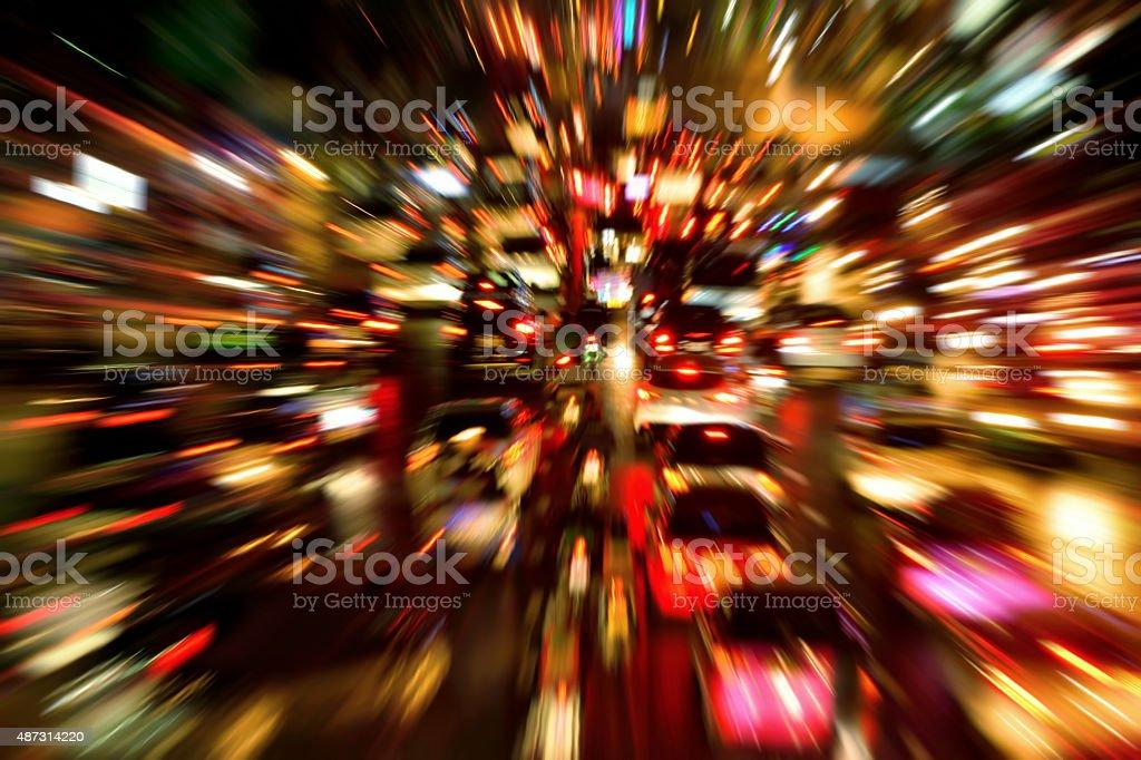 Traffic jam night shot, with dynamic blur effect stock photo