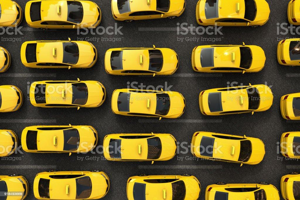 trafikstockning av gula taxibilar - Royaltyfri Bil Bildbanksbilder