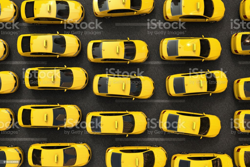 traffic jam of yellow taxis stock photo