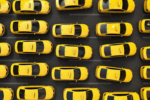 Trafikstockning Av Gula Taxibilar-foton och fler bilder på Bil