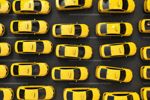 traffic jam of yellow taxis 3D rendering of a traffic jam of yellow taxis traffic jam stock pictures, royalty-free photos & images