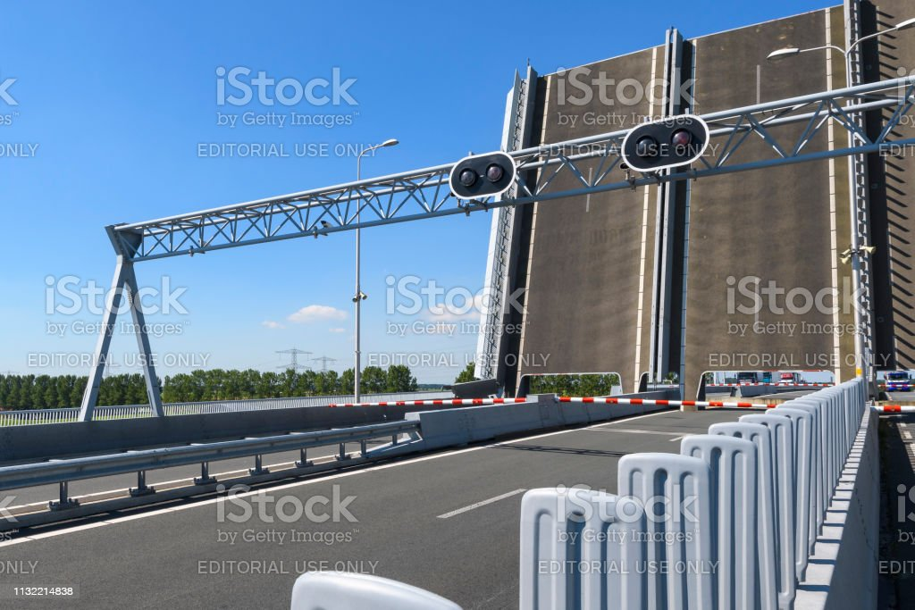 Traffic jam on a highway for a bridge opening stock photo