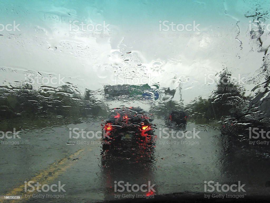 Traffic Jam on a Rainy Day royalty-free stock photo