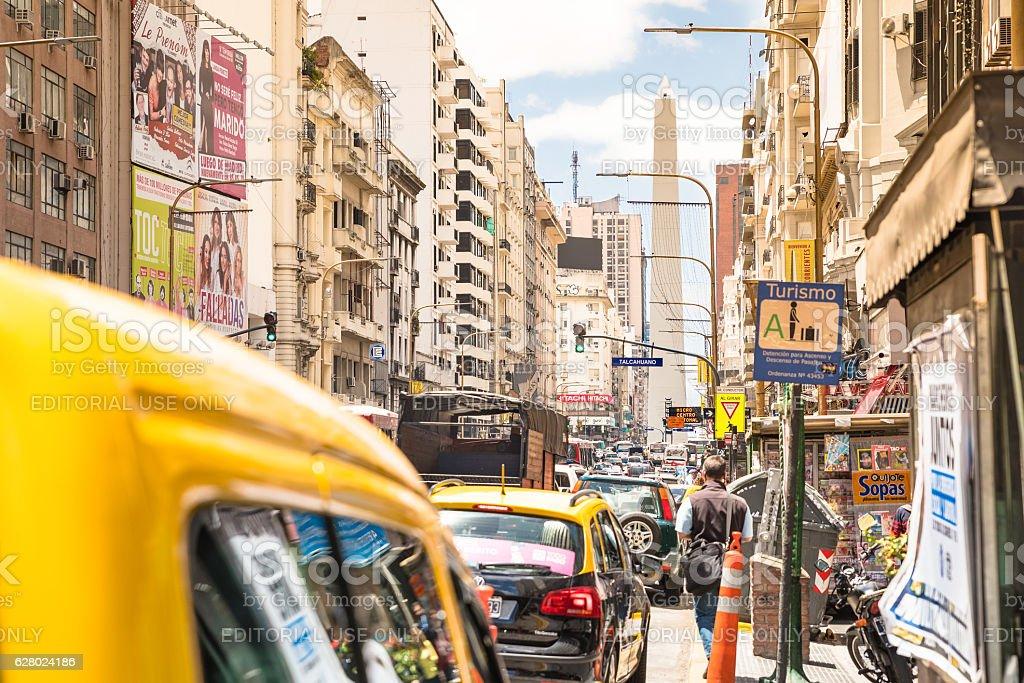 Traffic jam on Avenida Corrientes in Buenos Aires stock photo