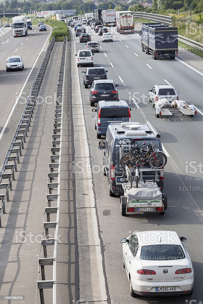 Traffic jam on german Autobahn A3 royalty-free stock photo
