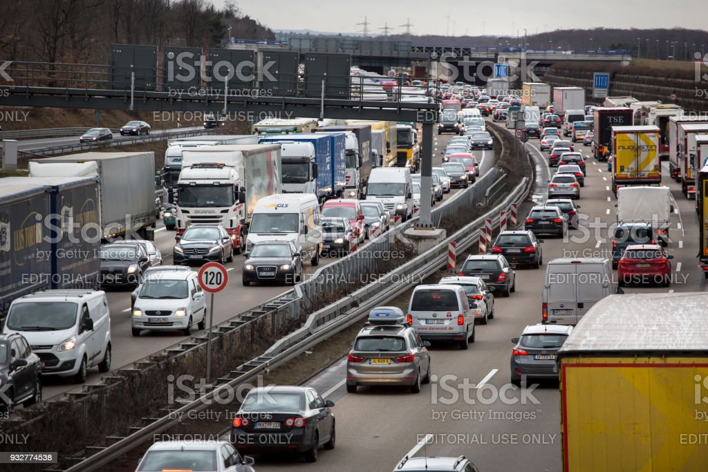 Traffic Jam On German Highway A3 Stock Photo - Download Image Now