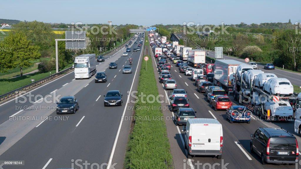 Stau auf Deutsche Autobahn – Foto