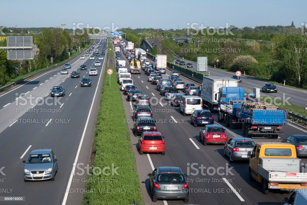 Traffic Jam On German Highway Stock Photo & More Pictures of Accidents and  Disasters