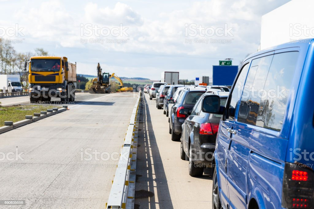 Traffic jam on highway during rush hour stock photo