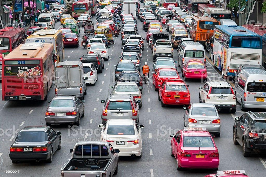traffic jam on multi-lane street in Bangkok, Thailand stock photo