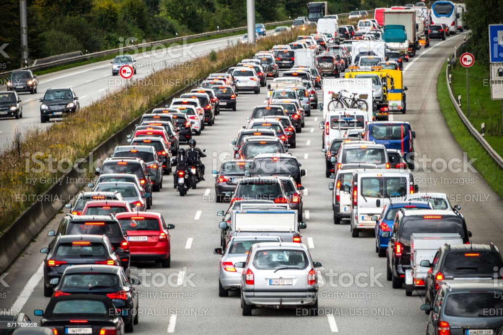 Traffic jam on the german highway stock photo