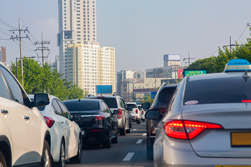Traffic jam on the way home from work in Bupyeong-gu, Incheon, South Korea, May 27, 2021