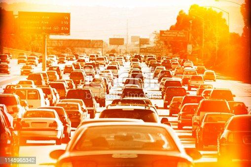 A traffic jam in Los Angels, CA.