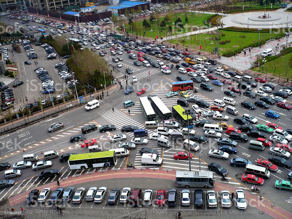 traffic jam traffic jam in downtown Architecture Stock Photo
