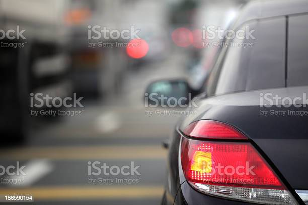 Rush hour traffic congestion focus on tail brake light