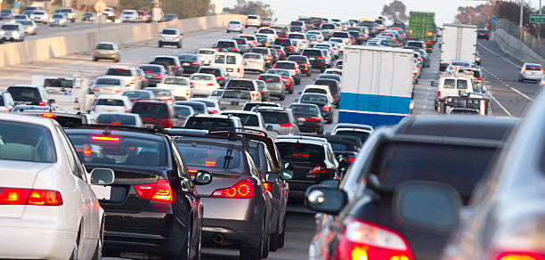 Traffic Jam A traffic jam on the 5 freeway heading south in Orange County California. traffic jam stock pictures, royalty-free photos & images
