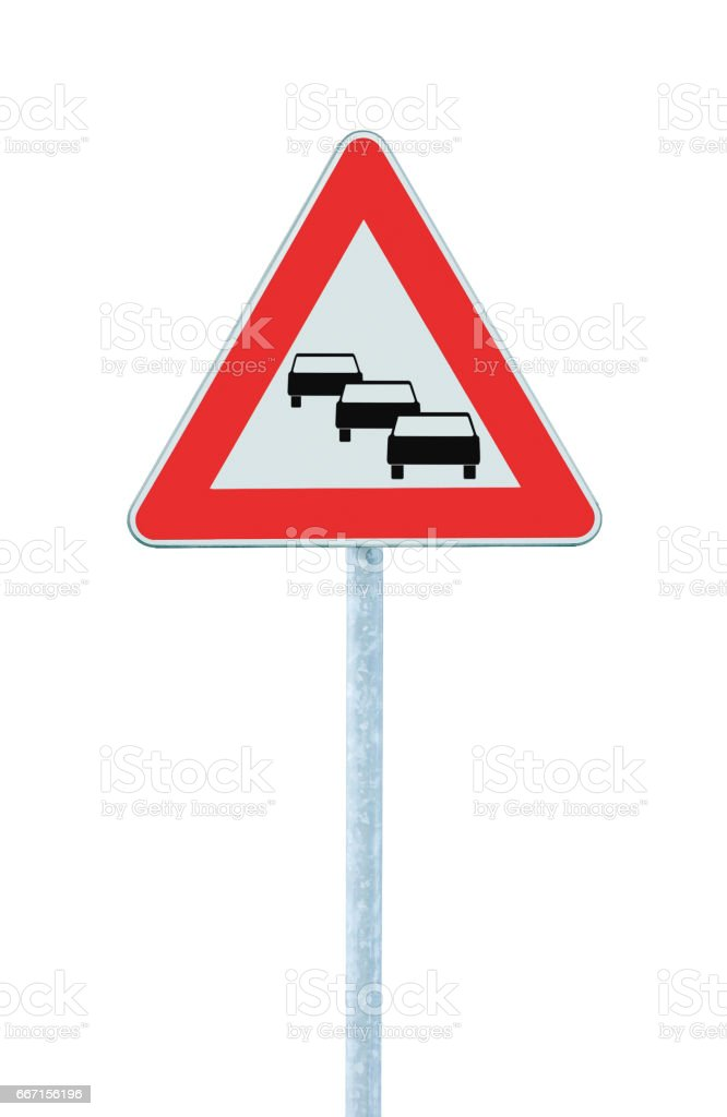 Traffic jam queues likely road sign, expect delays ahead warning isolated, traffic congestion symbol, red triangle, large detailed vertical closeup stock photo