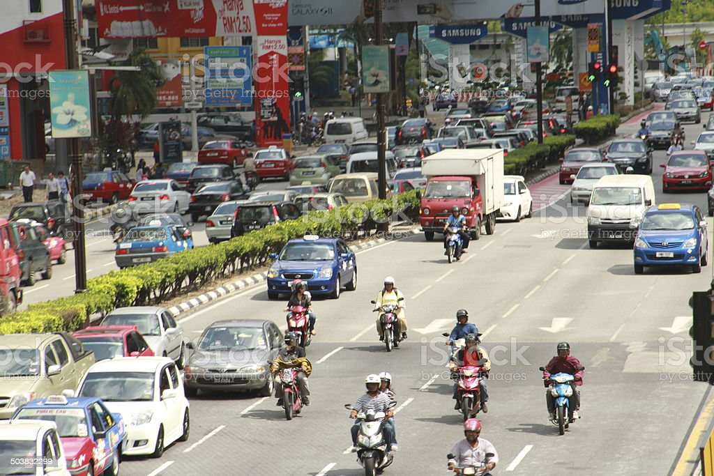 Traffic Jam & Rush hour & Many Cars and MotorCycles stock photo