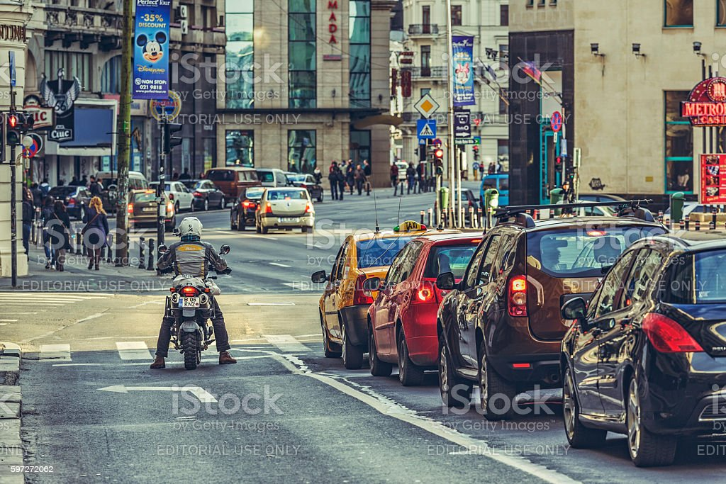 Traffic jam, rush hour stock photo