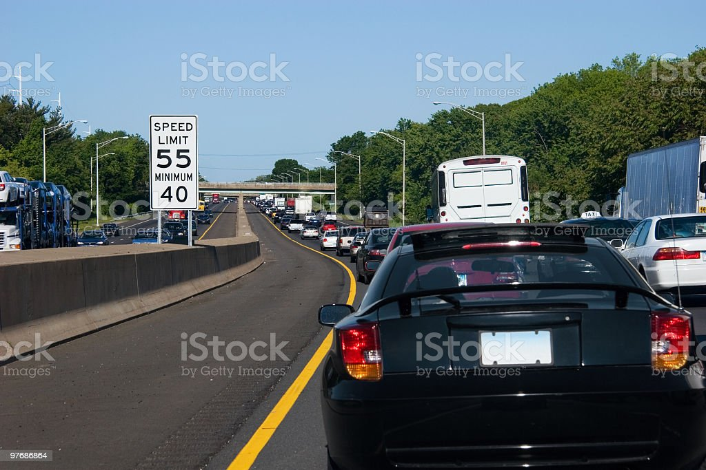 Traffic jam with a long line of cars sitting on a highway stock photo