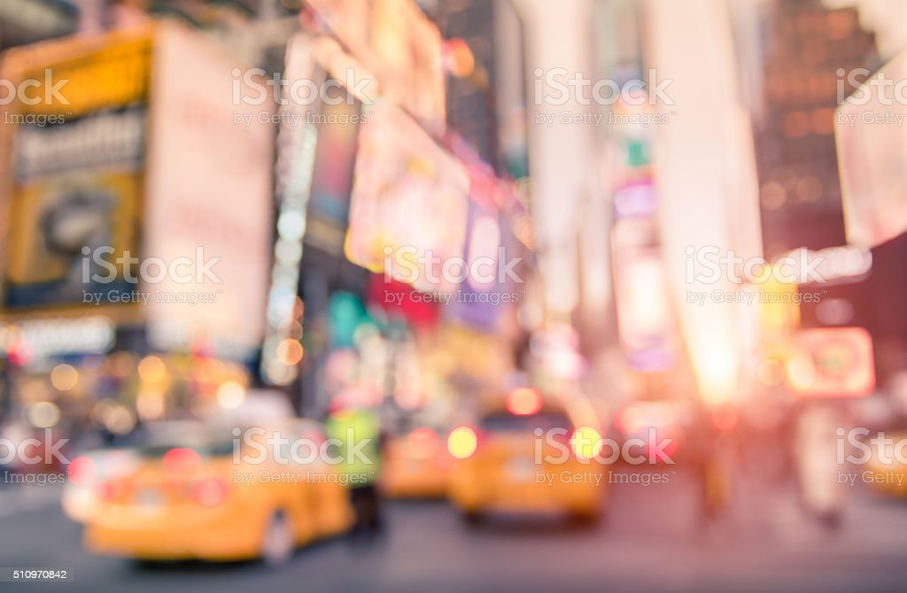 Traffic jam with defocused yellow taxicabs in New York City stock photo