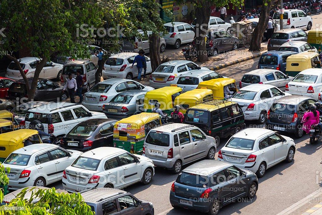 Traffic Jams in Delhi, India stock photo