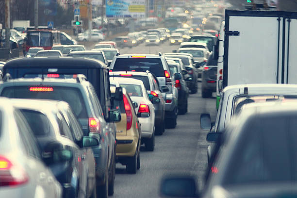 traffic jams in the city, road, rush hour traffic jams in the city, road, rush hour traffic jam stock pictures, royalty-free photos & images