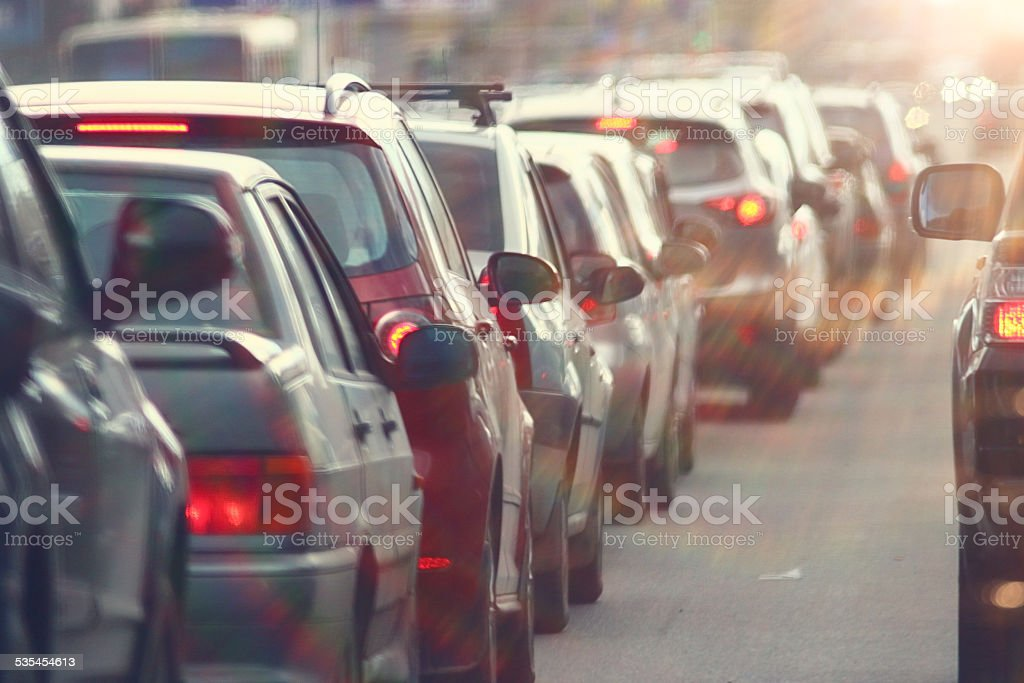 traffic jams in the city, road, rush hour royalty-free stock photo