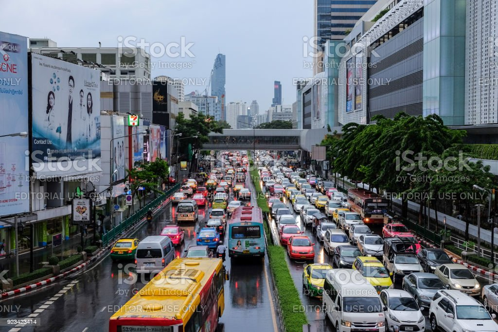 Traffic jams on Phaya Thai Rd. from Pathumwan Intersection in front of MBK center in the evening after work. stock photo