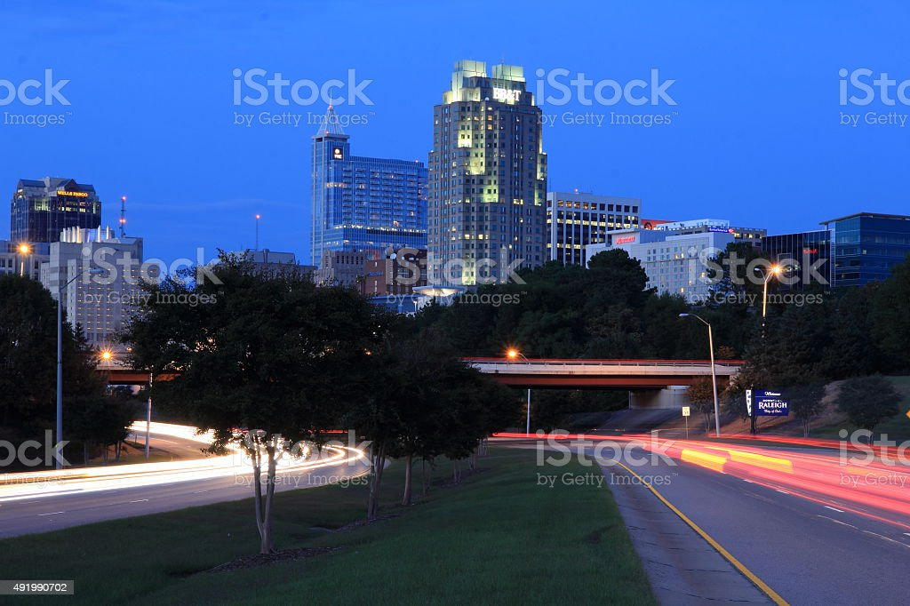 Traffic Leading In And Out Of Raleigh North Carolina Usa