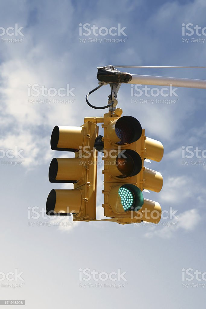 Traffic light and shoes with clipping path royalty-free stock photo