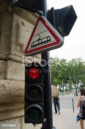 Traffic light and tram signal at Bordeaux, France.