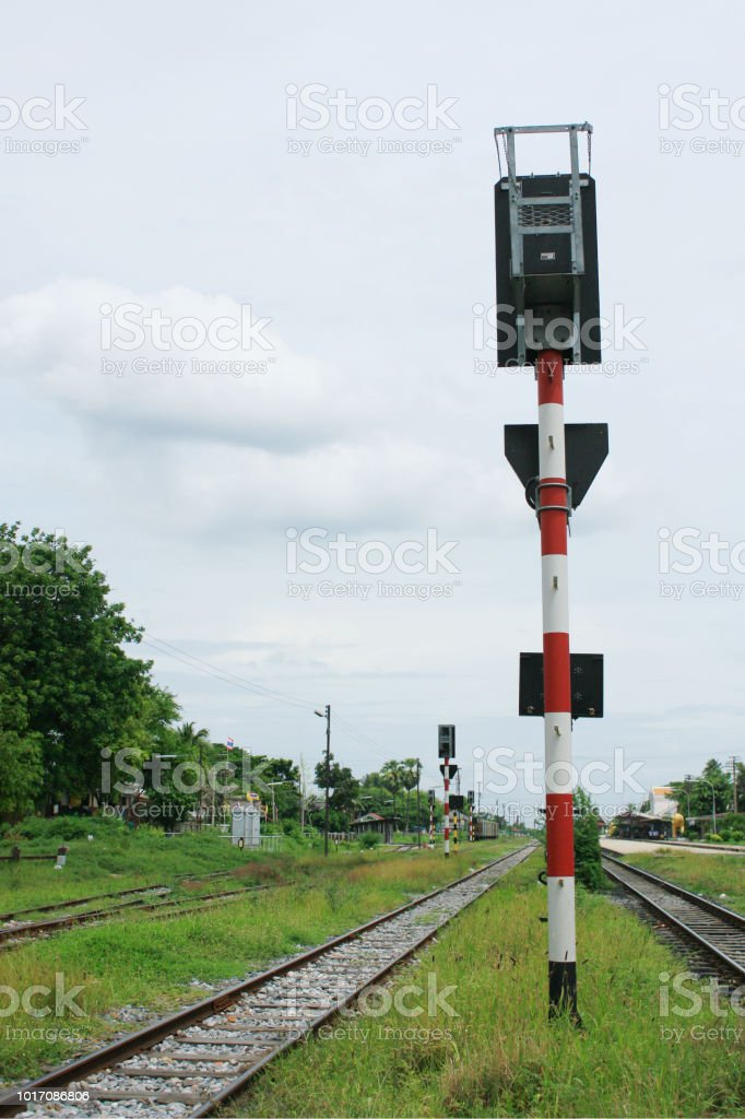 Traffic light at the railway crossing. railway station.