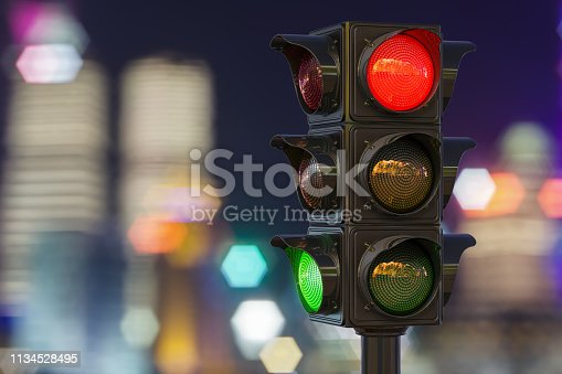 Traffic light closeup in the night city, 3D rendering